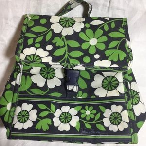 VERA BRADLEY GREEN & NAVY BLUE INSULATED LUNCH BAG